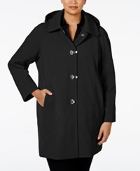 London Fog Plus Size Clip Front Hooded Raincoat Black