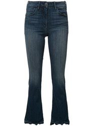 3X1 Frayed Cropped Bootcut Jeans Blue