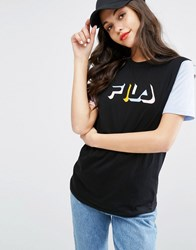 Fila Relaxed Boyfriend T Shirt With Contrast Sleeves Black Blue
