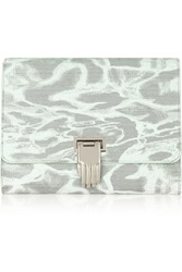 Opening Ceremony Nokki Printed Leather Clutch White