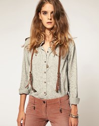 Maison Scotch Roll Sleeve Shirt With Suspender Detail Blue