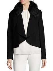 Halston Fox Fur Collar Open Front Jacket Black