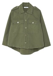 Mango Broken Summer Jacket Khaki Dark Green