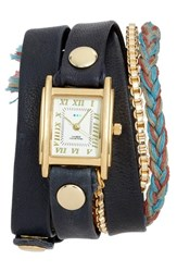 La Mer 'S Collections Brunello Leather And Chain Wrap Watch 25Mm Navy White Gold