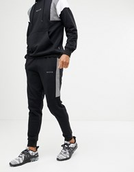 Nicce London Skinny Joggers In Black With Reflective Panels