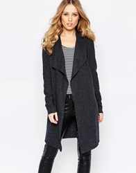 Y.A.S Evita Long Wool Cardigan Dark Gray Melange