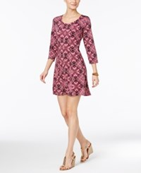 Ny Collection Petite Printed Fit And Flare Dress Purple Empyrean
