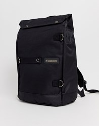 Ben Sherman Leather Roll Top Backpack In Black