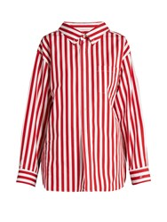 Balenciaga Striped Cotton Poplin Shirt Red Stripe