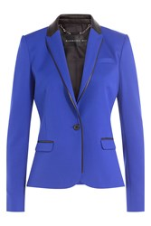 Barbara Bui Wool Blazer With Leather Blue
