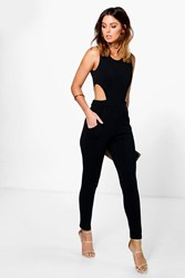 Boohoo Side Cut Out Skinny Leg Jumpsuit Black