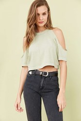 Truly Madly Deeply Courtney Cold Shoulder Tee Green