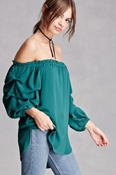 Forever 21 Ruched Sleeve Top