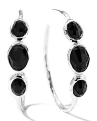 Ippolita Rock Candy Silver 3 Stone 3 Hoop Earrings In Black Onyx Clear