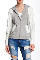 Vakko Mixed Media Hooded Jacket Gray