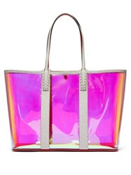 Christian Louboutin Cabata Spike Embellished Iridescent Pvc Tote Clear Multi