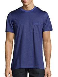 Brioni Short Sleeve Cotton And Silk Tee Bluette