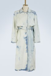Esteban Cortazar Denim Trench Coat Bleach
