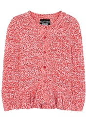 Boutique Moschino Pink Chunky Knit Cotton Blend Cardigan