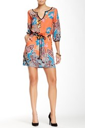 Glam Split V Neck Printed Dress Orange