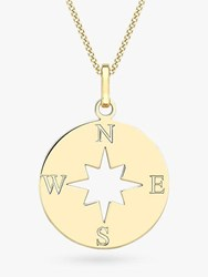 Ibb 9Ct Gold Compass And Cut Out Star Pendant Necklace Gold