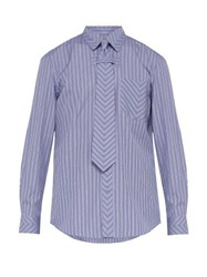 Burberry Chevron Stripe Tie Cotton Shirt Blue