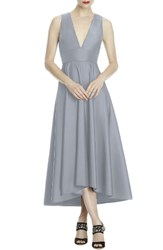 Lela Rose Bridesmaid Women's Mikado High Low Midi Gown Platinum