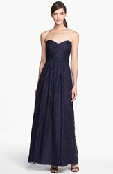 Women's Amsale Pleated Lace Sweetheart Gown Navy