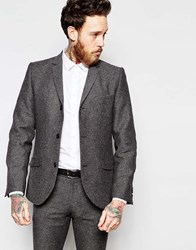 Heart And Dagger Herringbone 3 Button Blazer In Skinny Fit Grey