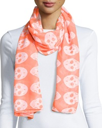 Raj Skull Cotton Scarf Neon Orange