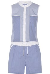 Ohne Titel Striped Cotton Blend Playsuit Blue