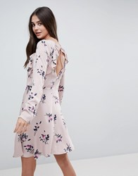 Vila Floral Dress With Ruffles Pink