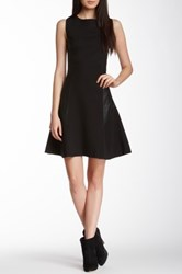 My Tribe Genuine Leather Trim Fit And Flare Dress Black