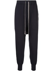 Rick Owens Drkshdw Dropped Crotch Track Trousers Blue