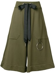 Marques Almeida Marques'almeida Cropped Wide Leg Trousers Cotton Polyamide Green