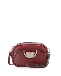 Class Roberto Cavalli Coco Round Leather Clutch Bag Burgundy