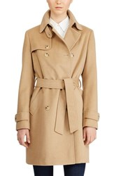 Lauren Ralph Lauren Wool Blend Trench Coat Camel