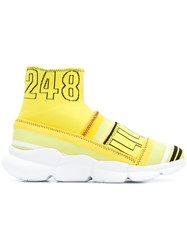 Msgm Branded Sock Sneakers Yellow And Orange