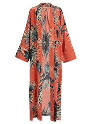 Adriana Degreas Floral Print Silk Crepe De Chine Cover Up Coral