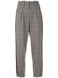 Martha Medeiros Tapered Check Trousers Grey