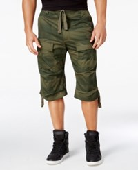 Sean John Men's Camo Print Flight Shorts Titanium