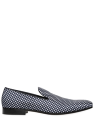 Dsquared Polka Dot Printed Techno Canvas Loafers Navy White