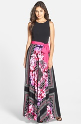 Eliza J Print Crepe De Chine Maxi Dress Regular And Petite Black Pink