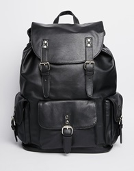 River Island Backpack In Faux Leather Black