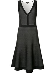 Narciso Rodriguez Pleated Trim Flared Dress Black