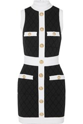 Balmain Two Tone Button Embellished Stretch Knit Mini Dress Black