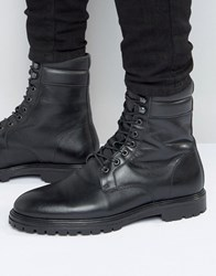 Asos Lace Up Boots In Black Leather Black