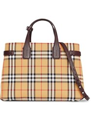 Burberry The Medium Banner In Vintage Check And Leather Yellow And Orange