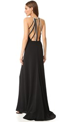Halston High Neck Gown With Multi Chain Back Black
