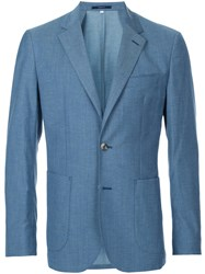Hardy Amies Classic Blazer Cotton Viscose Virgin Wool Blue